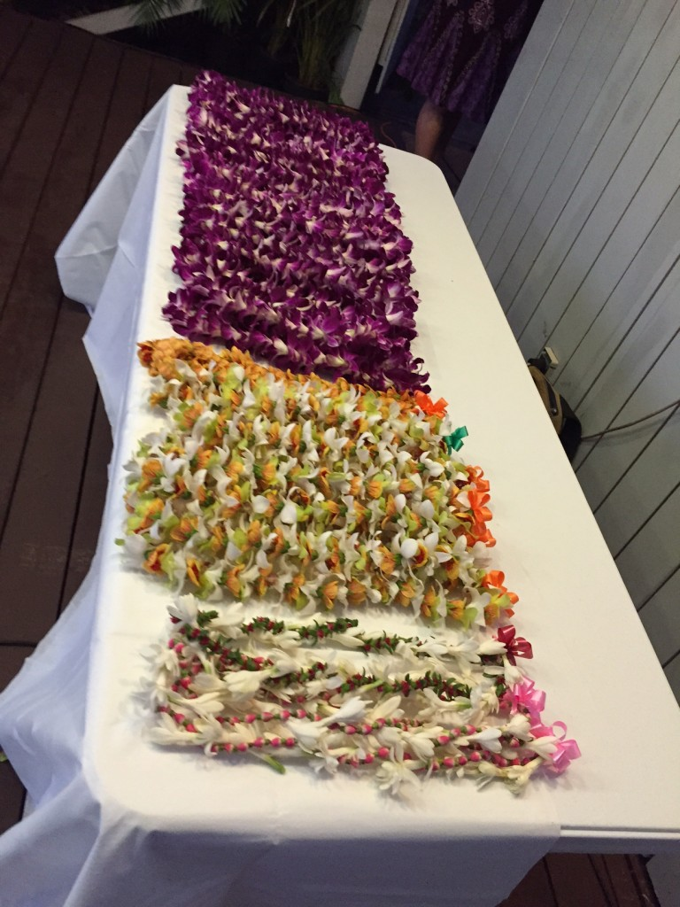 Many people to thank and many awards to give out...that means a lot of leis.